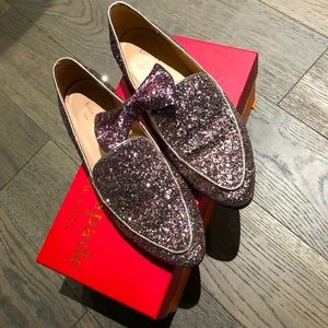 Kate Spade Rose Gold Glitter Loafers size 6